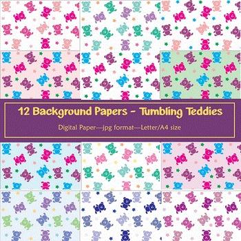 Background Paper - 12 Tumbling Teddies Digital Papers