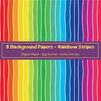 Background Paper - 8 Rainbow Stripe Designs