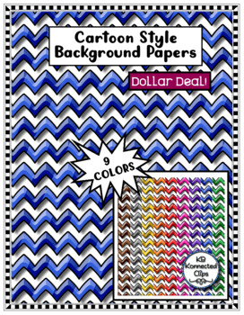 Background Paper Bundle! Cartoon Style Papers Chevrons, Circles, Squares & Waves