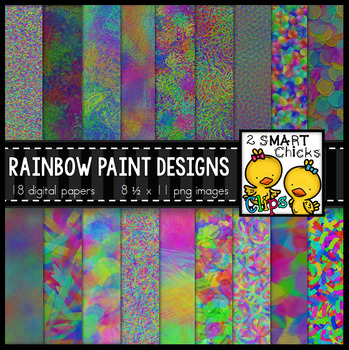 Background Paper – Rainbow Paint Designs Bundle