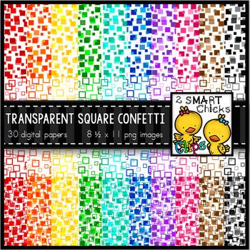 Background Paper – Transparent Square Confetti Bundle