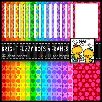 Background Paper and Borders – Bright Fuzzy Dots & Frames Bundle