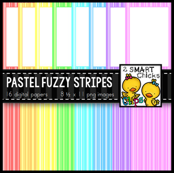Background Paper and Borders – Pastel Fuzzy Stripes Bundle
