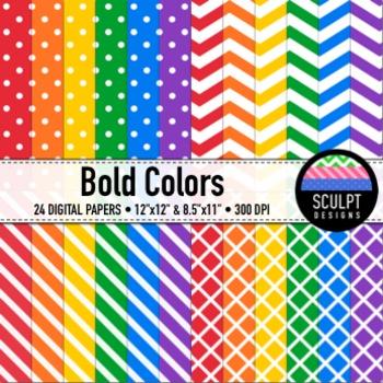 Digital Paper ~ Dots, Chevrons, Stripes, Lattice ~ Bold Colors
