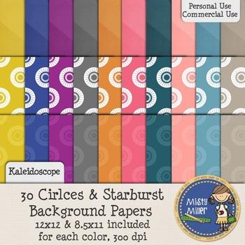 Digital Background Papers - Circles & Starburst Kaleidoscope