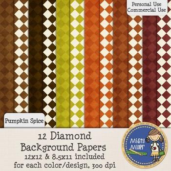 Digital Background Papers - Diamonds Pumpkin Spice