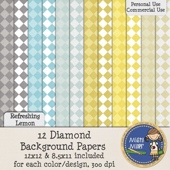 Digital Background Papers - Diamonds Refreshing Lemon