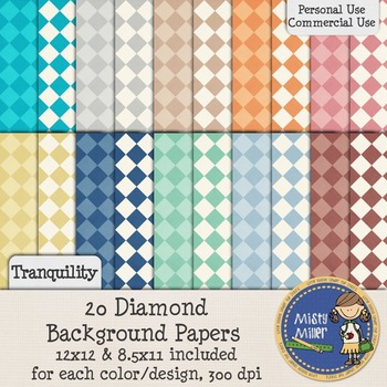 Digital Background Papers - Diamonds Tranquility