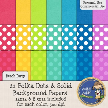 Digital Background Papers - Dots & Solids Beach Party