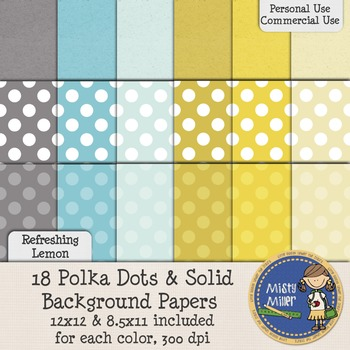 Digital Background Papers - Dots & Solids Refreshing Lemon