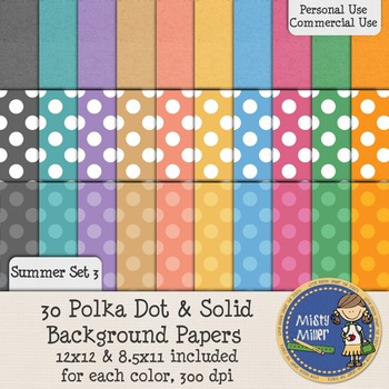 Digital Background Papers - Dots & Solids Summer 3