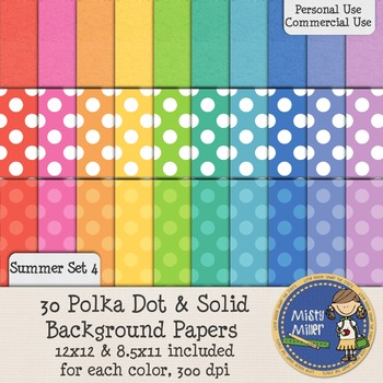 Digital Background Papers - Dots & Solids Summer 4