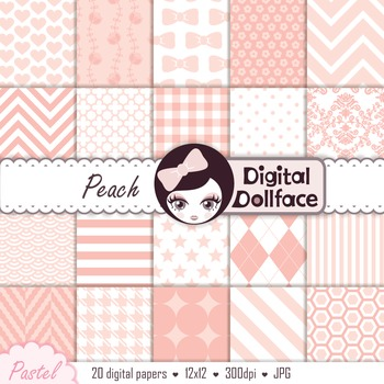Background Papers - Pastel Peach Digital Patterns