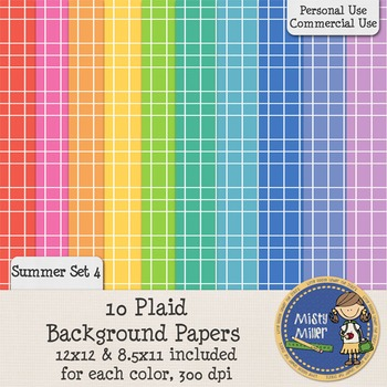 Digital Background Papers - Plaid Summer 4