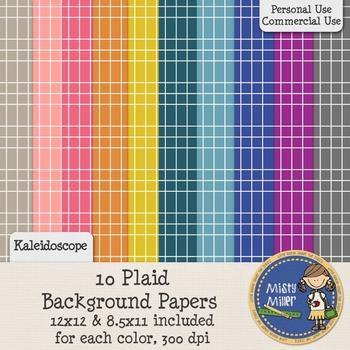 Digital Background Papers - Plaid Kaleidoscope
