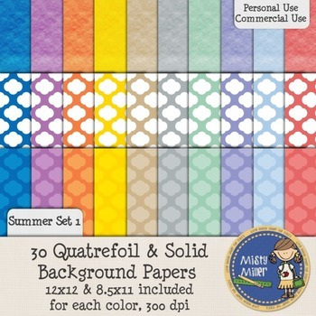 Digital Background Papers - Quatrefoil & Solids Summer 1