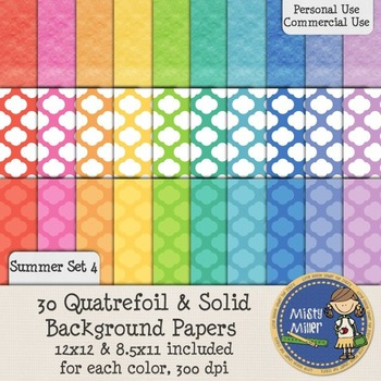 Digital Background Papers - Quatrefoil & Solids Summer 4