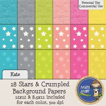 Digital Background Papers - Stars & Crumpled Kate