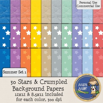 Digital Background Papers - Stars & Crumpled Summer 1