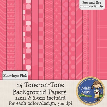 Digital Background Papers - Tone-on-Tone Flamingo Pink