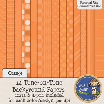 Digital Background Papers - Tone-on-Tone Orange