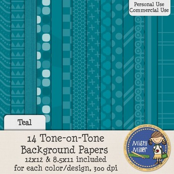 Digital Background Papers - Tone-on-Tone Teal