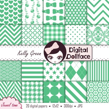 Background Patterns - Kelly Green Digital Papers