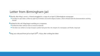 """Background Powerpoint for Martin Luther King Jr's """"Letter from Birmingham Jail"""""""