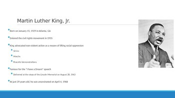 """Background Powerpoint for Martin Luther King Jr's """"Letter"""