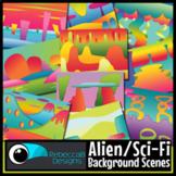 Alien Sci-Fi Background Scenes Clip Art for Boom Cards™ and Google Slides™