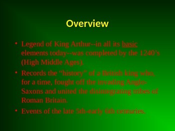 Background for the Arthurian Legends