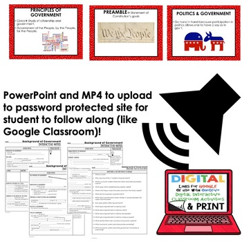 Background of Government Guided Notes and PowerPoints BUNDLE, Google & Print