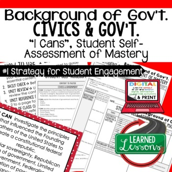 Background of Government I Cans, Self-Assessment of Mastery, CIVICS
