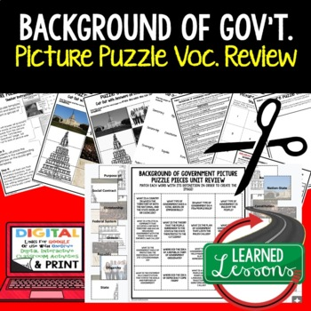 Background of Government Picture Puzzle Unit Review, Study Guide, Test Prep