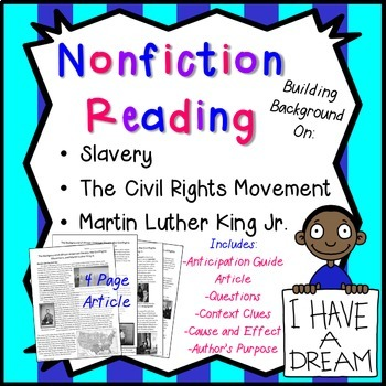 Nonfiction Reading: Slavery, the Civil Rights Movement, and MLK Jr. Pack