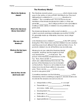 Background on the Newbery Medal with PowerPoint & Guided Notes