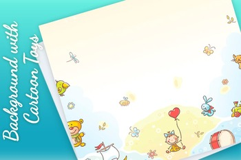Background with Cartoon Toys and a Copy Space