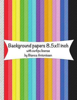 Backgrounds 8.5x11 inch - striped digital papers - commercial use