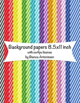Backgrounds 8.5x11 inch - stripes digital papers - commercial use