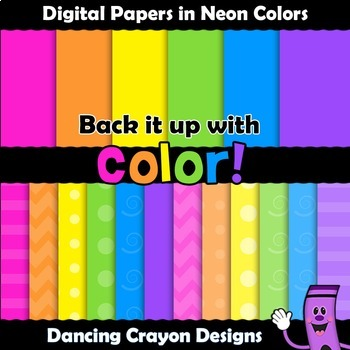 Backgrounds / Digital Papers Clip Art - Bright Colors