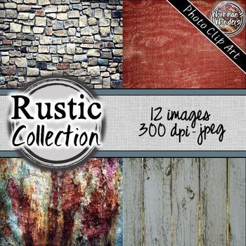 Rustic - Photo Clip Art (12 Images/4 Sizes)