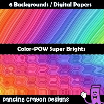 Backgrounds / Digital Papers: Super Brights Psychedelic Rainbows
