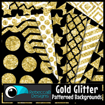 Gold Glitter Patterned Digital Papers