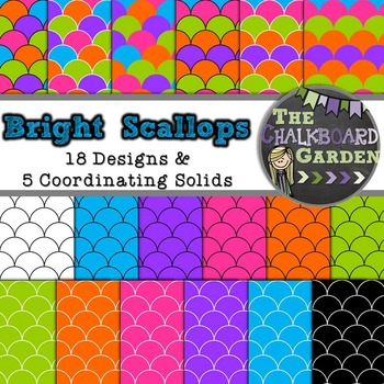 Backgrounds Paper Pack- Black and Bright Scallops