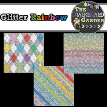 Backgrounds Paper Pack- Glitter Rainbow