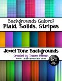 Background Clip Art in Jewel Tones Plaids, Stripes, Solids Bundle