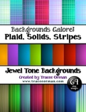 Background Clip Art in Jewel Tones Plaids, Stripes, Solids Bundle