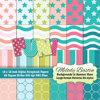 Backgrounds or Papers in Summer Colors 24 Patterns