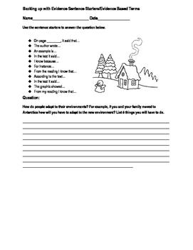 Backing up with evidence sentence starters editable worksheet