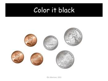 Backpack Counting Coins Practice - Watch, Think, Color Mystery Pictures